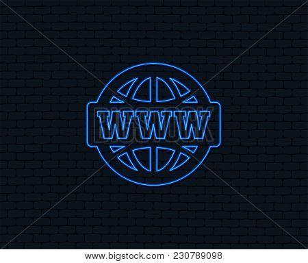 Neon Light. Www Sign Icon. World Wide Web Symbol. Globe. Glowing Graphic Design. Brick Wall. Vector