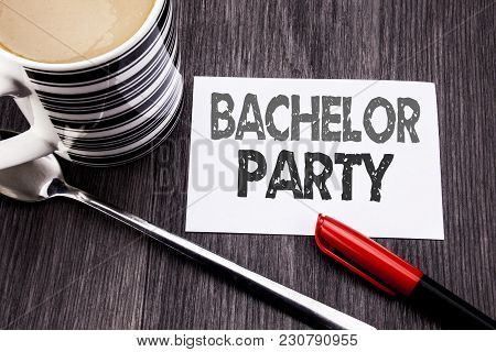 Conceptual Hand Writing Text Caption Showing Bachelor Party. Business Concept For Stag Fun Celebrate