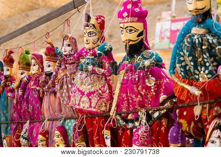Traditional Rajasthani Puppets Showing A Couple With A Bearded Man And Beautiful Woman In Traditiona