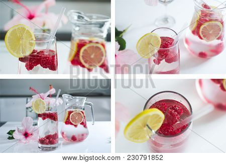 Set Of Four Fotos Lemonade With Fresh Raspberries