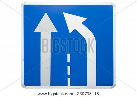 'end Of Additional Lane' Square Blue Road Sign Isolated On White
