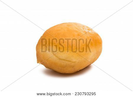 Baked Beige Donut Isolated On White Background