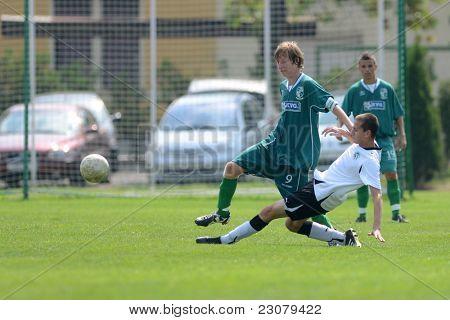 KAPOSVAR, HUNGARY - AUGUST 27: Adam Hampuk (in green 9) in action at the Hungarian National Championship under 18 game between Kaposvar (green) and Gyor (white) August 27, 2011 in Kaposvar, Hungary.