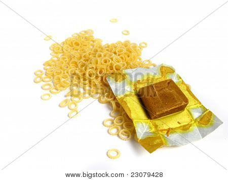 Pasta to Soup with a block of a dehydrated flavor