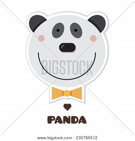 Panda. Vector Illustration Of Head Of Panda. Sticker