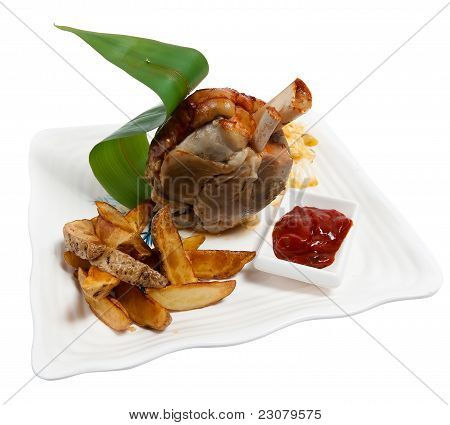 Pork Shank With Potatoes And Sauce