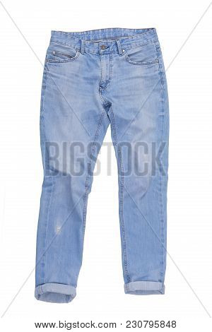 Casual Jeans Pants Isolated On White Background. Light Blue Male Denim, Cutout