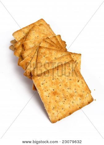 Tower of integral crackers on a white background