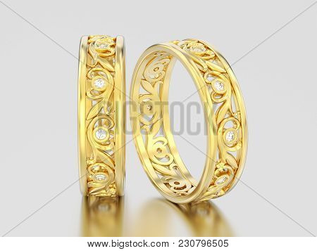 3d Illustration Two Yellow Gold Decorative Wedding Bands Carved Out Diamond Rings With Ornament On A