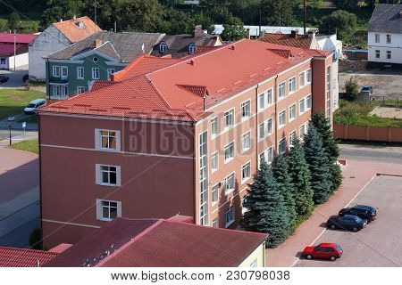 View Of The Building Of The Administration Of Pravdinsk District Of The Kaliningrad Oblast, Russia.