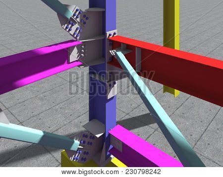 Model Metal Frame Trestle Oil Building. 3D Rendering.