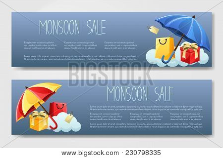 Set Of 2 Vector Brouchure. Flyer, Banner For Monsoon Season With Shopping Bags, Gift And Umbrella.