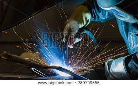 Welder, Craftsman, Erecting Technical Steel Industrial Steel Welder In Factory Technical,