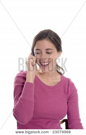 Woman Happy On Phone