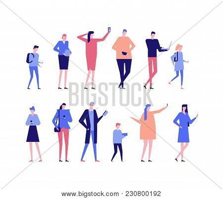 People With Gadgets - Flat Design Style Set Of Isolated Characters On White Background. Cartoon Wome