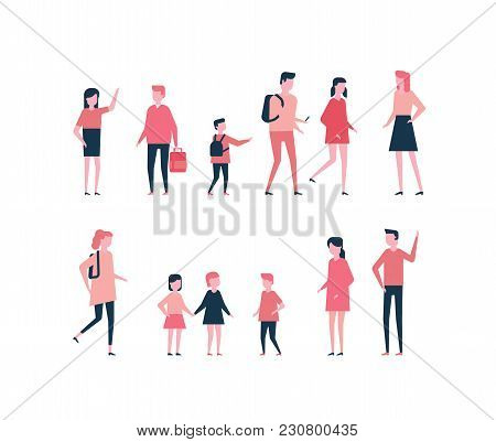 Children - Flat Design Style Set Of Isolated Characters On White Background. Cartoon Cute Kids Of Di