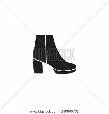 High Boot Icon. Vector High Boot In Silhouette Style For Fashion Design On White Background.