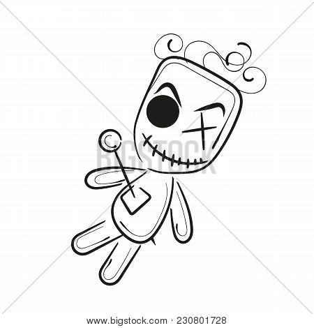 Voodoo Doll Isolated Illustration On White Background
