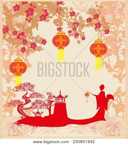 Chinese New Year Celebration Card , Vector Illustration