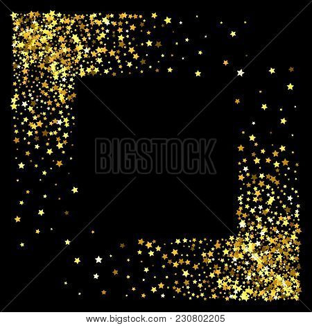 a51066c34f66 Square Corner Gold Frame Or Border Of Random Scatter Golden Stars On Black  Background. Design