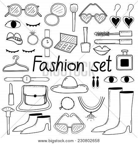 Line Hand Drawn Doodle Vector Fashion Set.