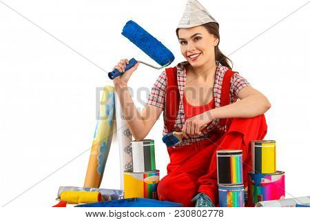 Repair home woman holding paint roller for wallpaper. Smiling girl in newspaper cap renovation apartment on isolated. Loan for housing for students.