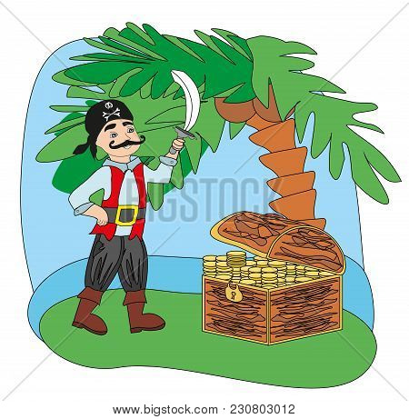 Pirate With A Sword In His Hand , Vector Illustration