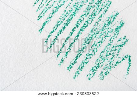 Wax Crayon Abstract Painted Background. Green Drawing On White Textured Paper