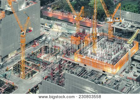 Top View Of An Under Construction Building Site. Civil Engineering, Industrial Development Project,