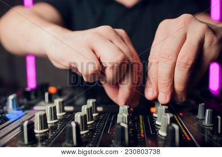 Close Up View Of Professional Dj Console Club