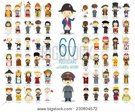 Kids Vector Characters Collection: Set Of 60 Relevant Politicians And Leaders Of History In Cartoon