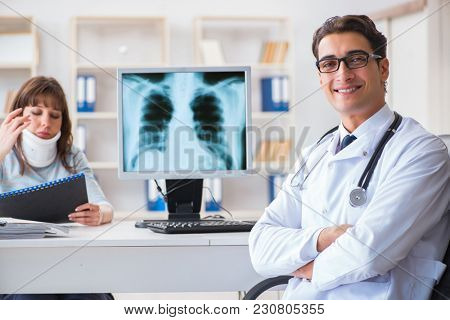 Young woman visiting radiologist for x-ray exam