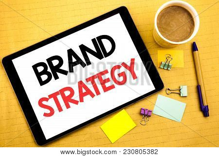 Conceptual Hand Writing Text Caption Showing Brand Strategy. Business Concept For Marketing Idea Pla