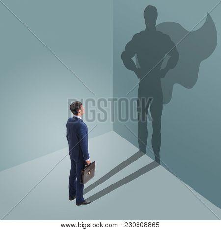 Businessman with aspiration of becoming superhero