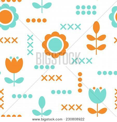 Floral Pattern For Surface Design In Scandinavian Style. Hygge Flowers, Transparent Background