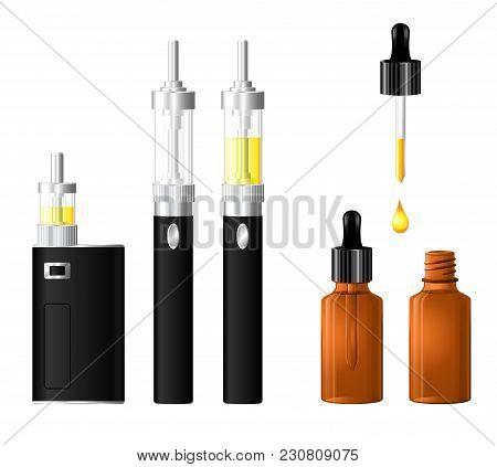 Electronic Cigarette Vector Set. Evaporators With Liquid.vaporizer Device.