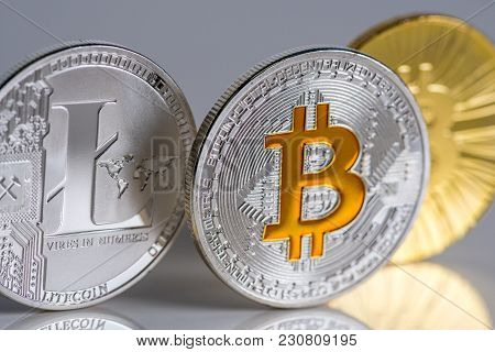 Bitcoin And Litecoin Virtual Money Macro View. Cryptocurrency Invest Concept.
