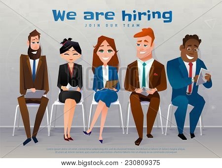 Human Resources Interview Recruitment Job Concept. We Are Hiring Text. People Sitting On The Chairs