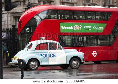 London, England - March 12, 2017 Old Vintage Blue Volkswagen With White Door With Inscription Police