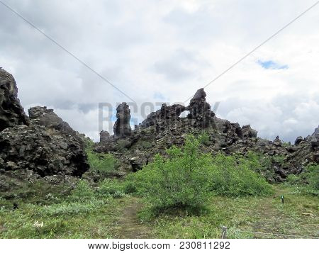 Landscape Of The Dimmuborgir Area With Volcanic Caves And Rock Formations In Northeast Iceland, July