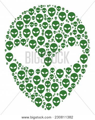 Alien Face Collage Made In The Combination Of Alien Face Design Elements. Vector Iconized Collage Cr