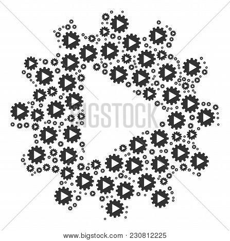 Automation Pattern Constructed In The Shape Of Automation Design Elements. Vector Iconized Compositi