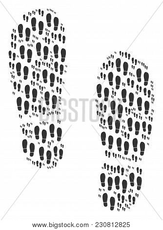Boot Footprints Illustration Combined In The Set Of Boot Footprints Design Elements. Vector Iconized