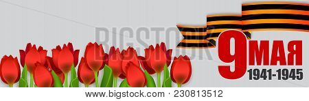 May 9 Victory Day Win. Winner Great War 1941-1945. Vector Realistic Tulips Illustration. Saint Georg