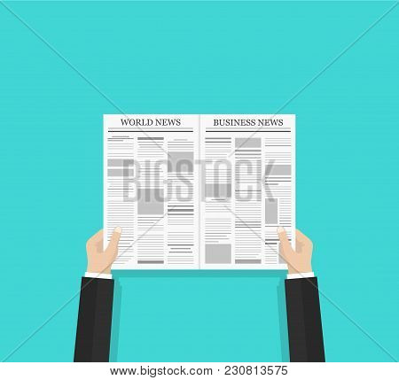 Daily Business News And World News Gazette Concept. Opened Newspaper In Businessman Hands. Flat Styl