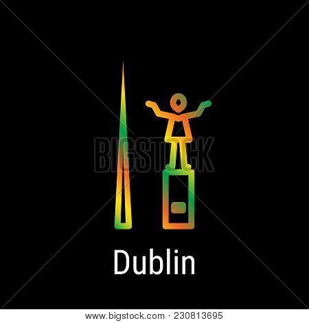 Dublin, Ireland Vector Line Icon. Dublin Madrid Landmark, Emblem, Print, Label, Symbol. Spire Of Dub