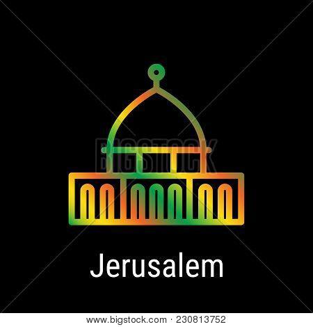Jerusalem, Israel Vector Line Icon. Jerusalem Madrid Landmark, Emblem, Print, Label, Symbol. Mosque