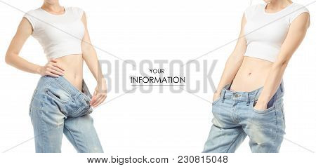 Young Woman In Jeans Weight Loss Weight Loss Set Pattern On A White Background Isolation