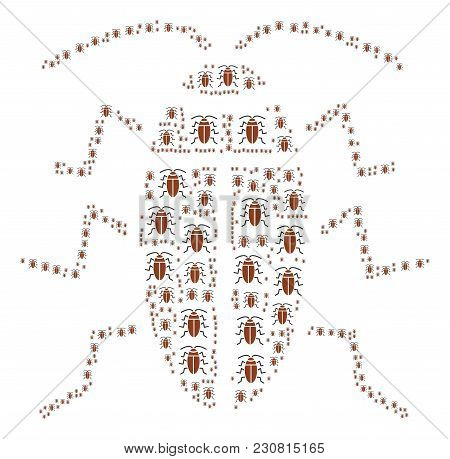 Cockroach Composition Done In The Group Of Cockroach Pictograms. Vector Iconized Composition Combine