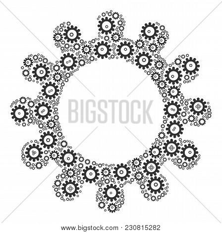 Cog Collage Designed In The Collection Of Cog Elements. Vector Iconized Composition Designed From Si